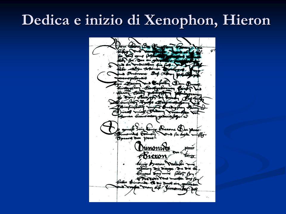 Dedica e inizio di Xenophon, Hieron