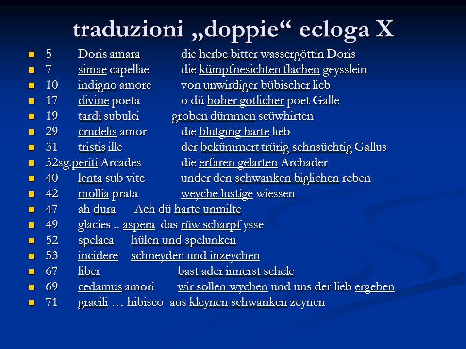 """traduzioni """"doppie ecloga X"""