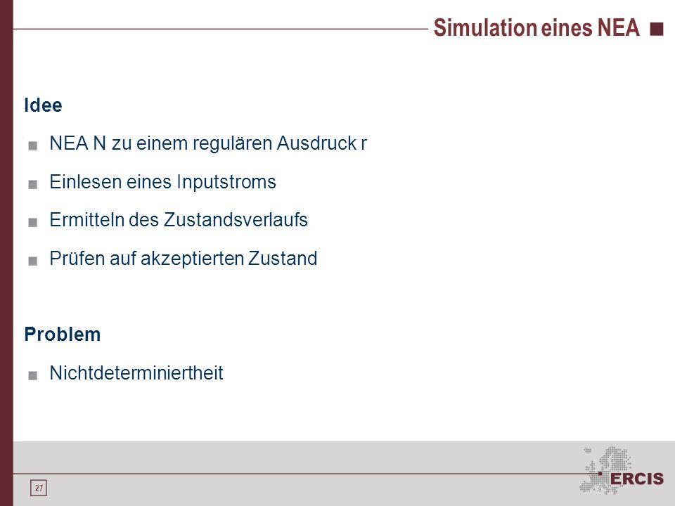 Simulation eines NEA Lösung Ermitteln aller möglichen Folgezustände