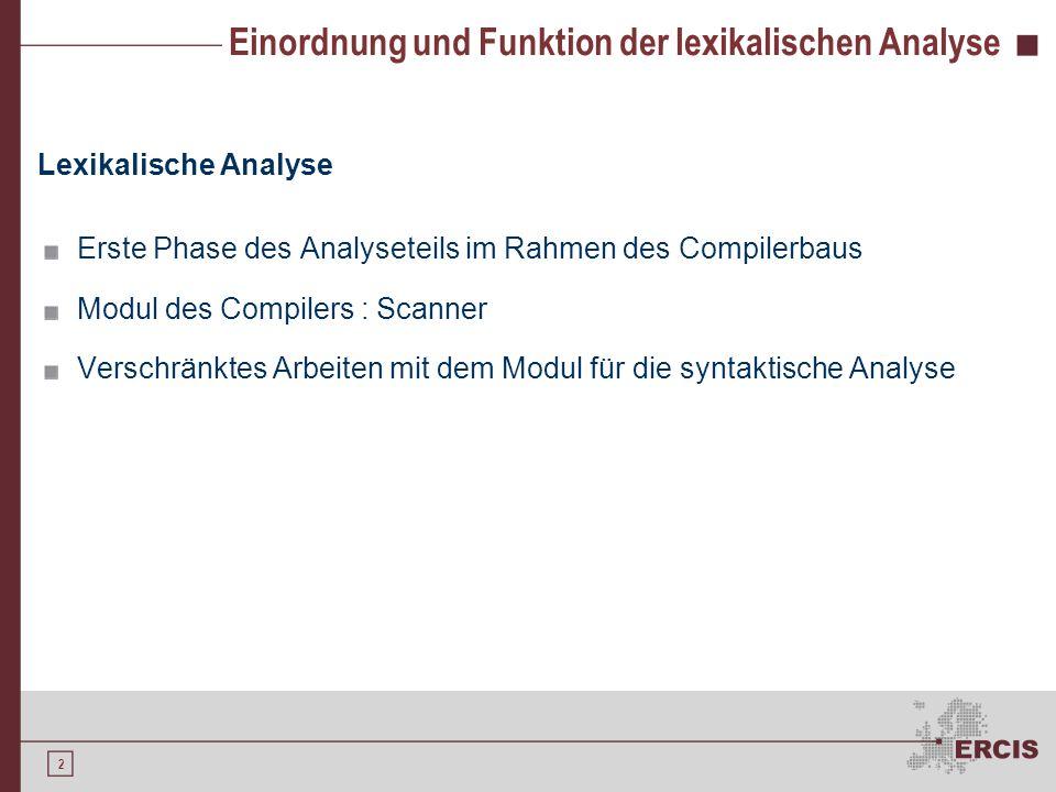 Einordnung und Funktion der lexikalischen Analyse