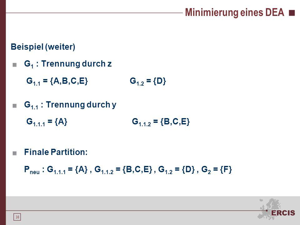 """Simulation eines DEA Simulation durch """"Nachschlagen in der Übergangstabelle Einzelne Symbole einer Eingabe sequentiell einlesen."""