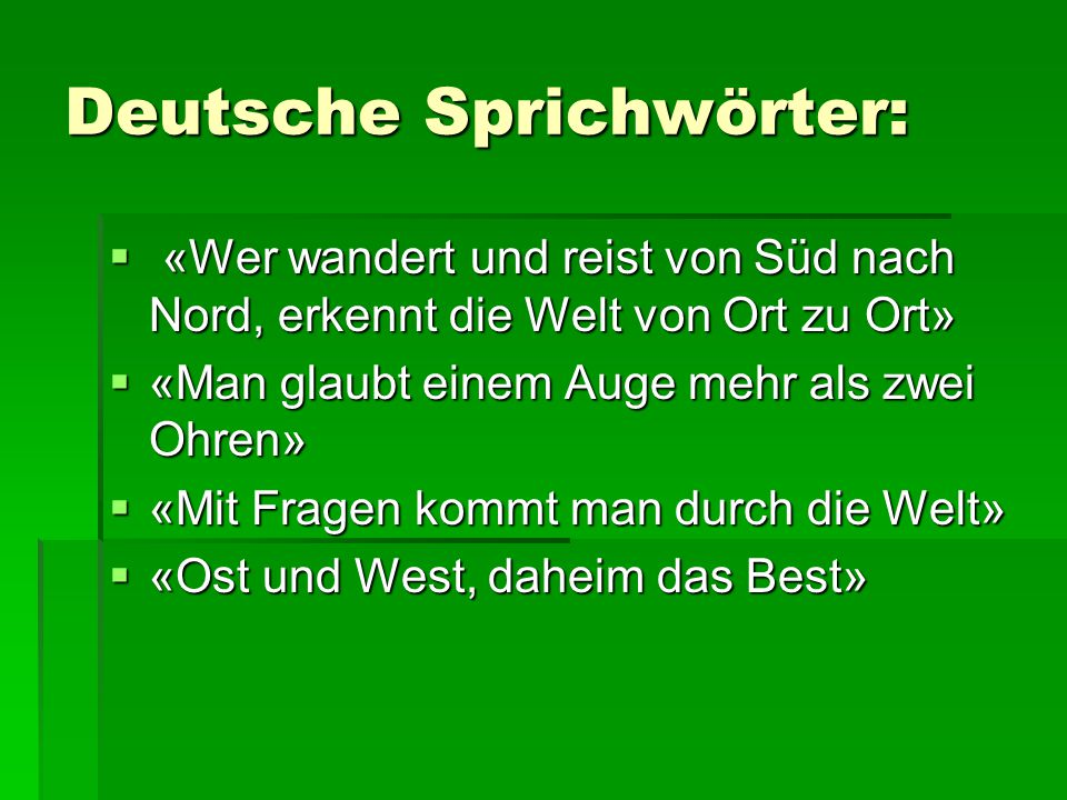 Deutsche Sprichwörter: