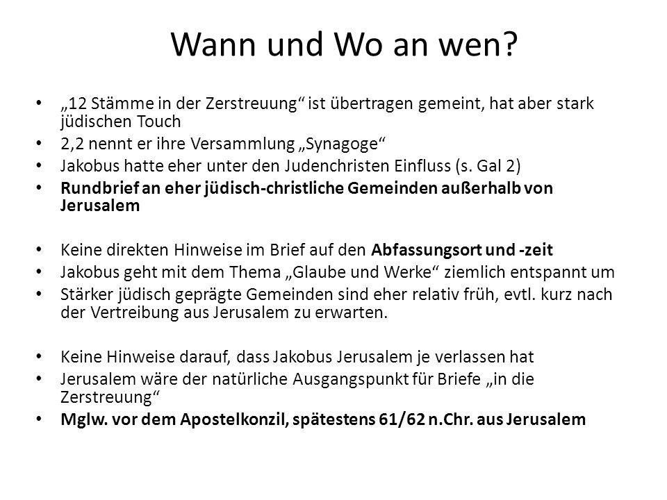 """Wann und Wo an wen """"12 Stämme in der Zerstreuung ist übertragen gemeint, hat aber stark jüdischen Touch."""