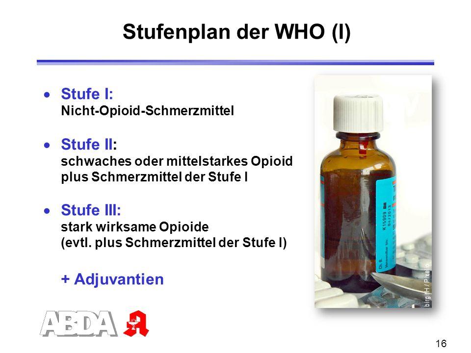 Stufenplan der WHO (I) Stufe I: Stufe II: Stufe III: + Adjuvantien