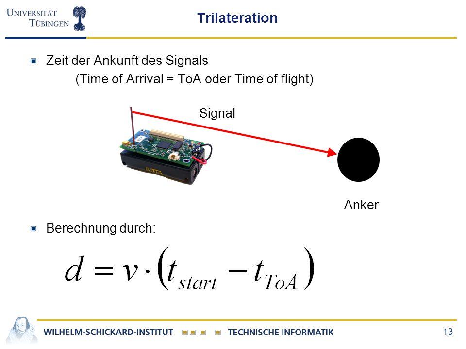 Trilateration Zeit der Ankunft des Signals