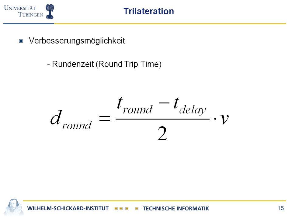 Trilateration Verbesserungsmöglichkeit - Rundenzeit (Round Trip Time)