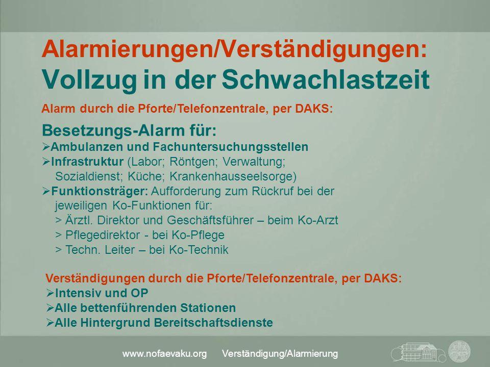 Alarmierungen/Verständigungen: Vollzug in der Schwachlastzeit