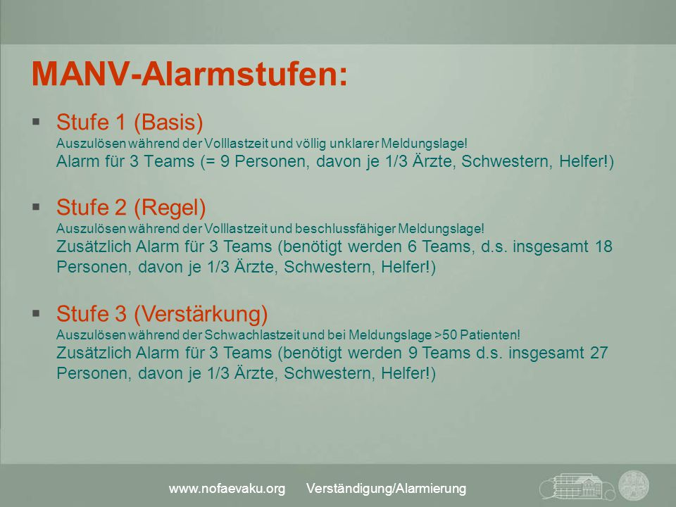 MANV-Alarmstufen: