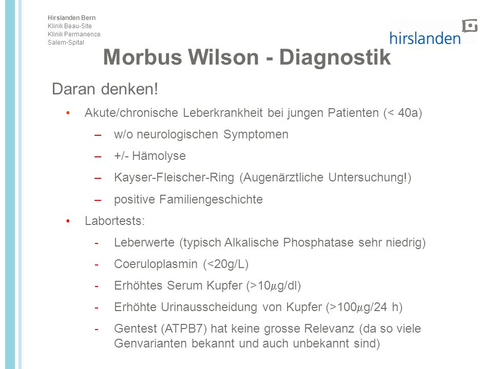 Morbus Wilson - Diagnostik