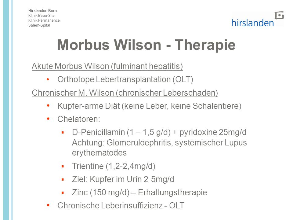 Morbus Wilson - Therapie