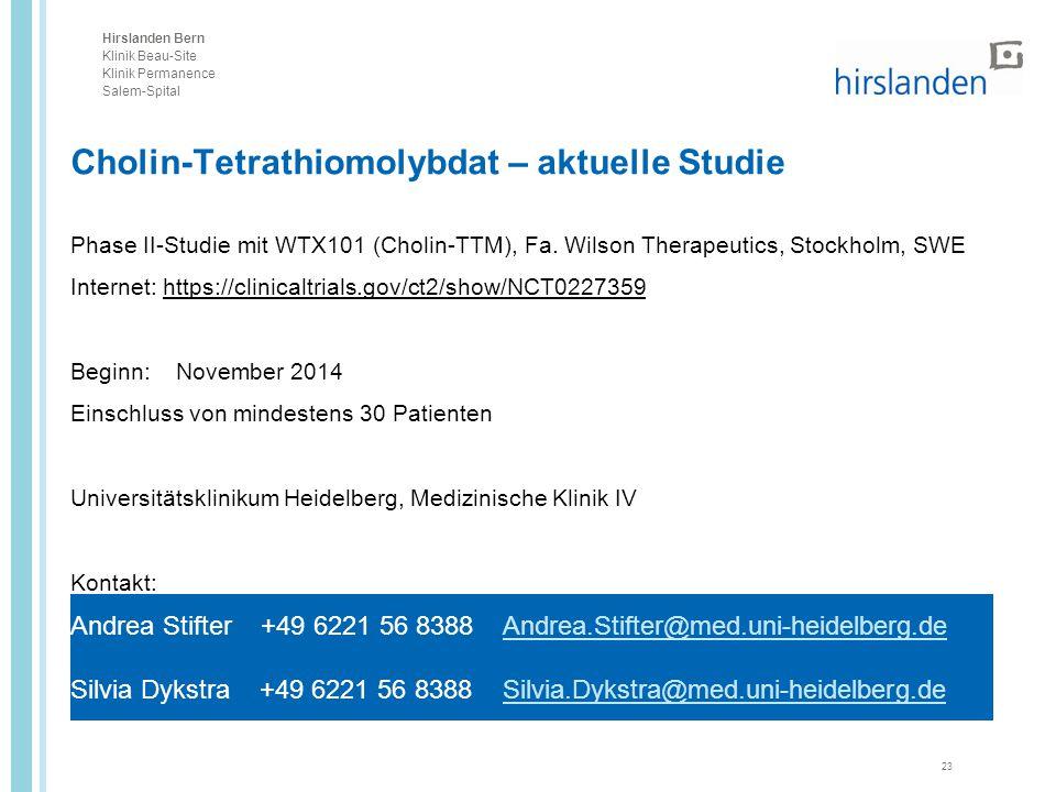 Cholin-Tetrathiomolybdat – aktuelle Studie