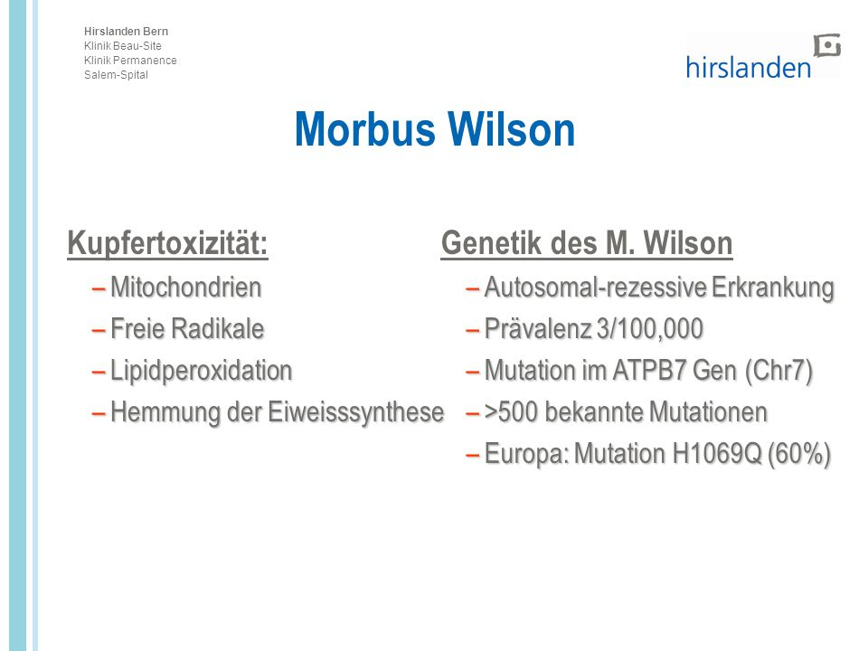 Morbus Wilson Kupfertoxizität: Genetik des M. Wilson Mitochondrien