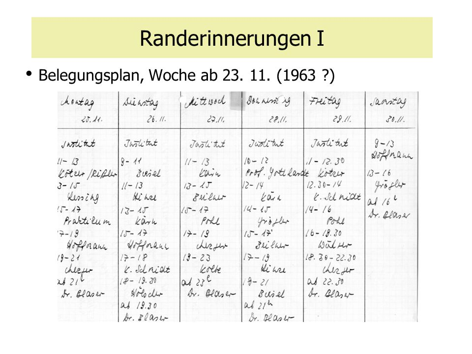 Belegungsplan, Woche ab 23. 11. (1963 )