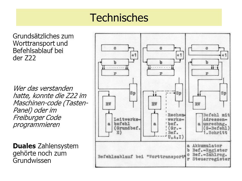 Technisches Grundsätzliches zum Worttransport und Befehlsablauf bei der Z22.