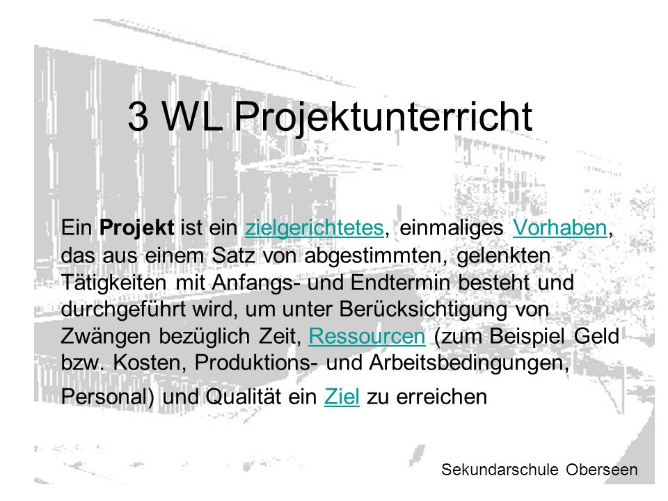 3 WL Projektunterricht