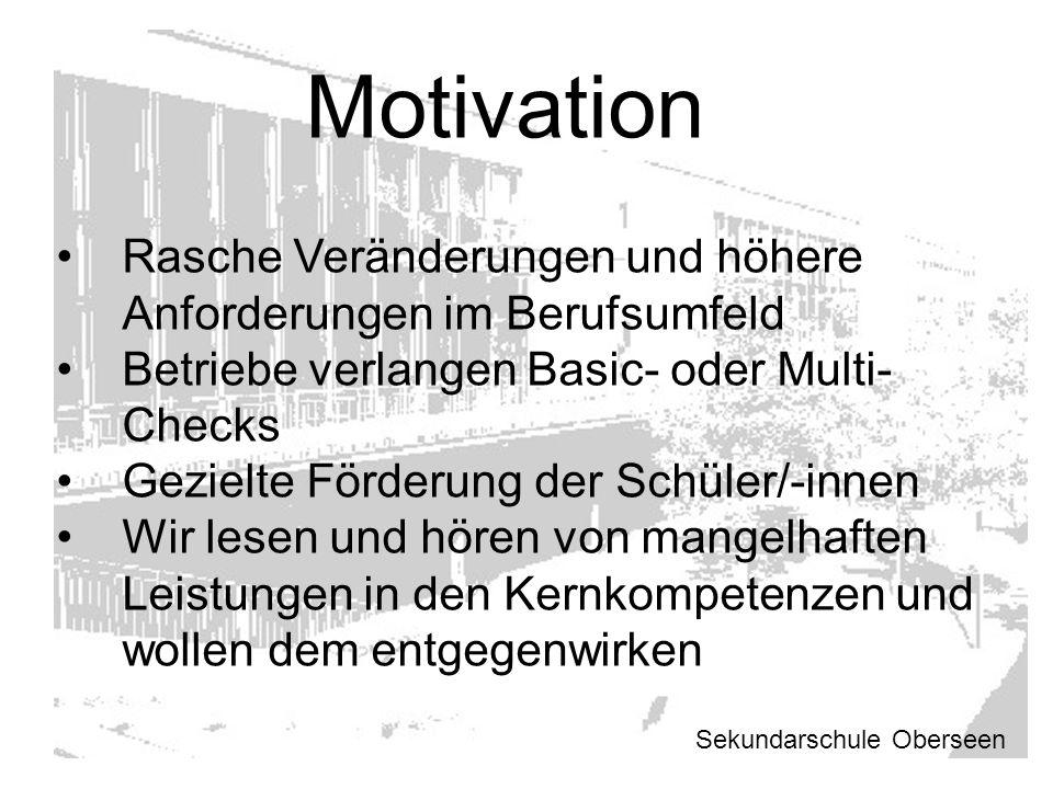 Motivation Rasche Veränderungen und höhere Anforderungen im Berufsumfeld. Betriebe verlangen Basic- oder Multi-Checks.