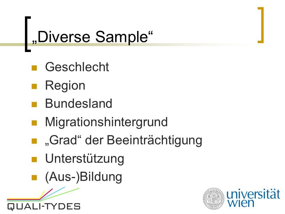 """""""Diverse Sample Geschlecht Region Bundesland Migrationshintergrund"""