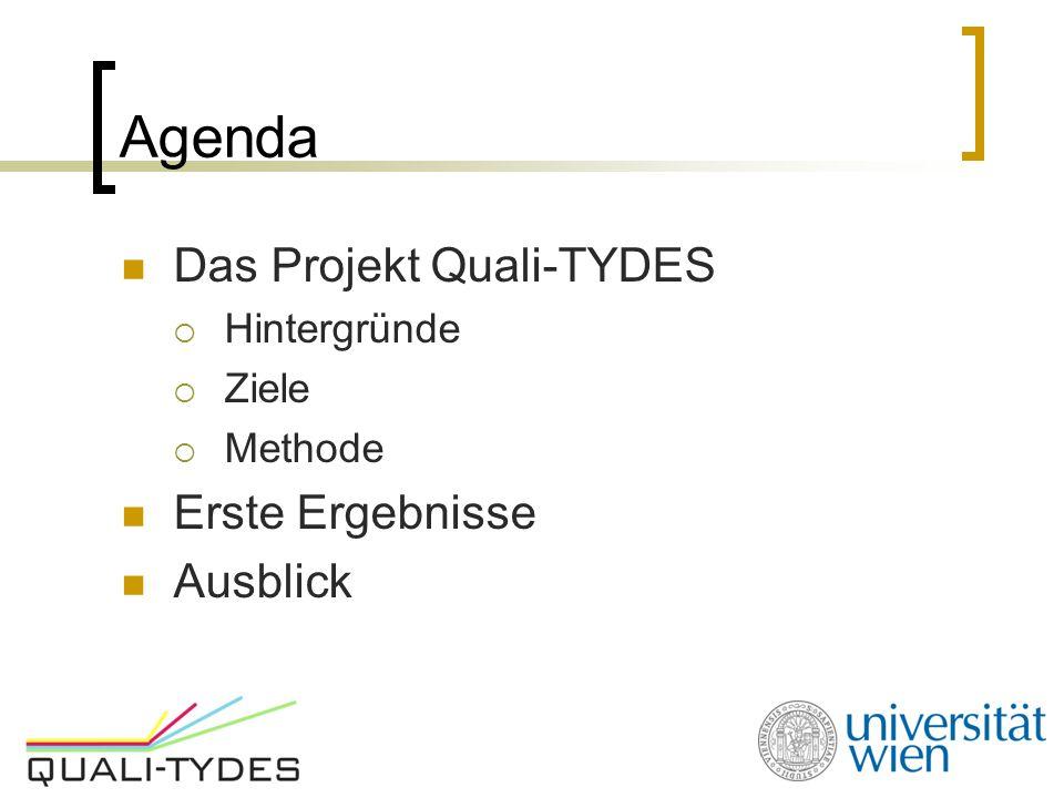 Agenda Das Projekt Quali-TYDES Erste Ergebnisse Ausblick Hintergründe