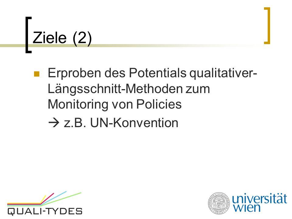 Ziele (2) Erproben des Potentials qualitativer-Längsschnitt-Methoden zum Monitoring von Policies.