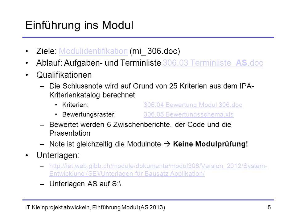 Einführung ins Modul Ziele: Modulidentifikation (mi_ 306.doc)