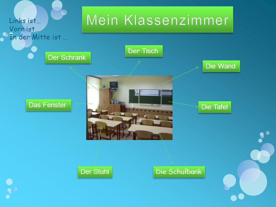 Mein Klassenzimmer Links ist… Vorn ist… In der Mitte ist … Der Tisch