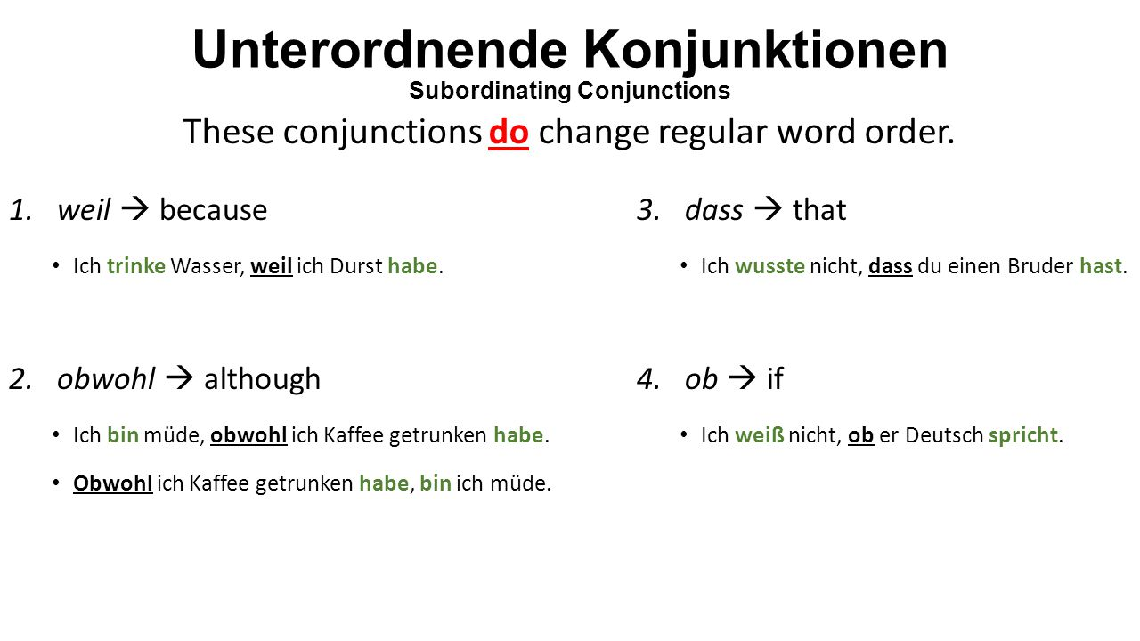 Unterordnende Konjunktionen Subordinating Conjunctions