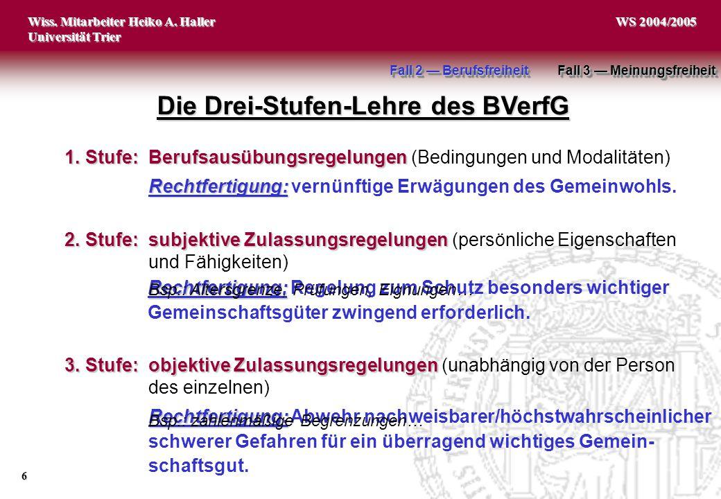 Die Drei-Stufen-Lehre des BVerfG