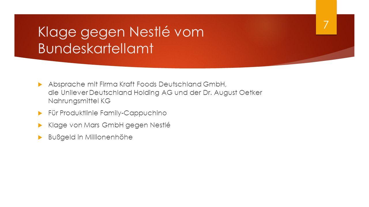 Klage gegen Nestlé vom Bundeskartellamt