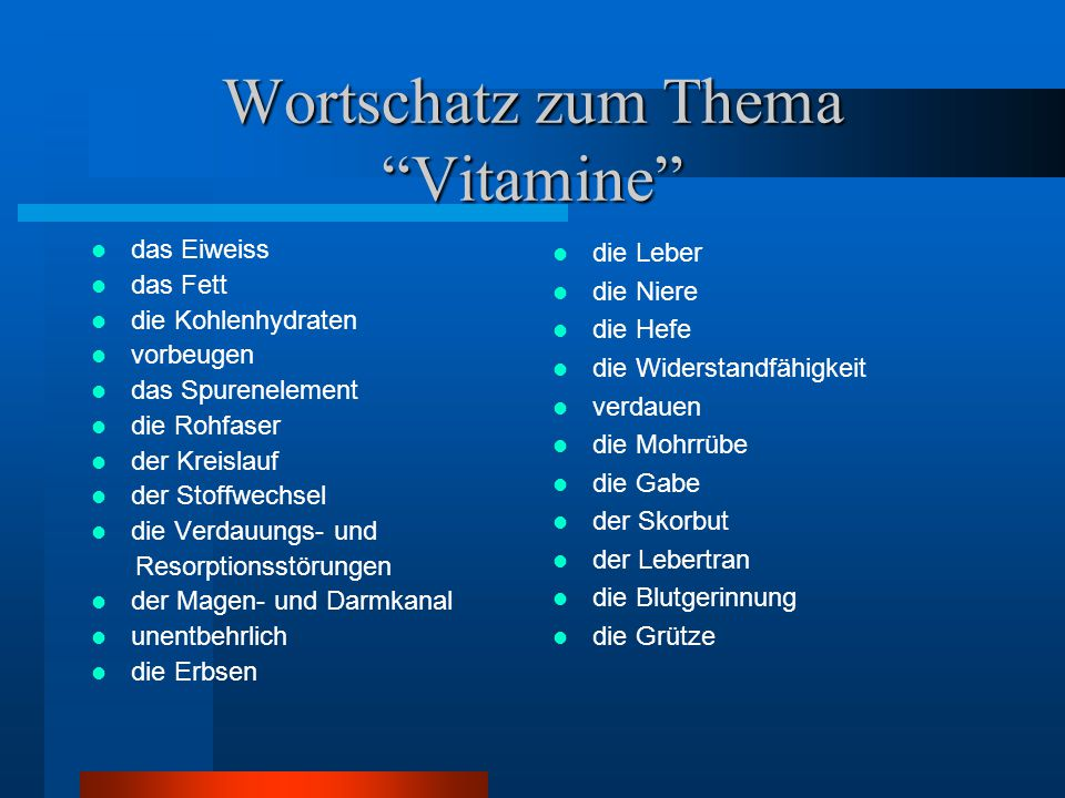 Wortschatz zum Thema Vitamine
