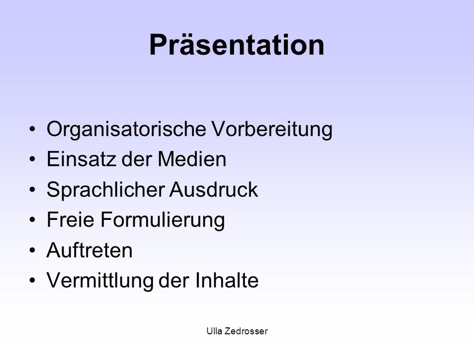 Präsentation Organisatorische Vorbereitung Einsatz der Medien