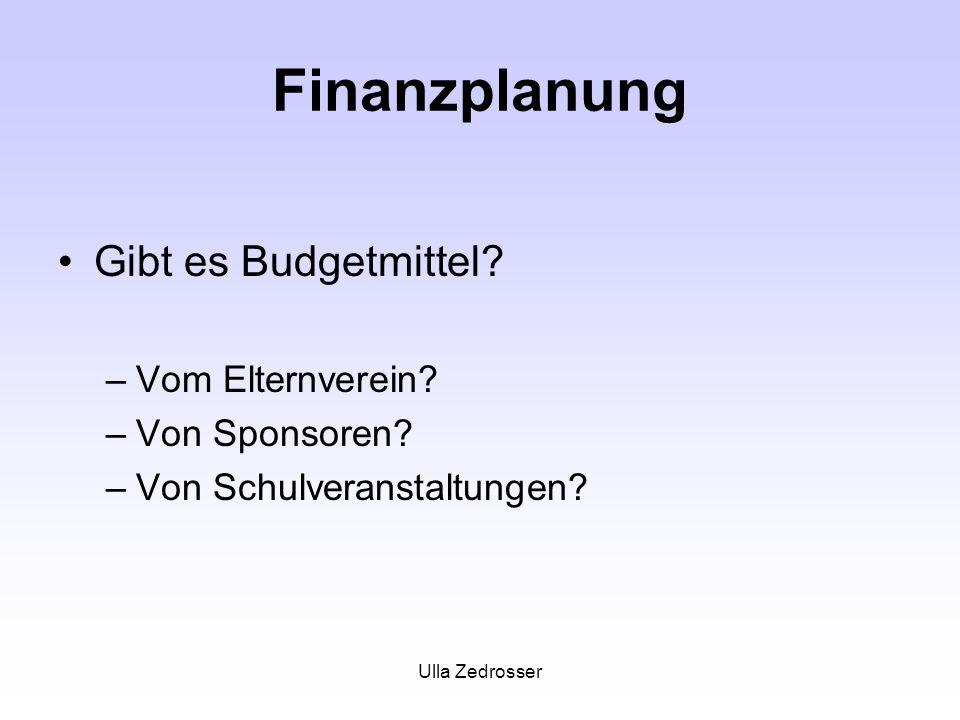 Finanzplanung Gibt es Budgetmittel Vom Elternverein Von Sponsoren
