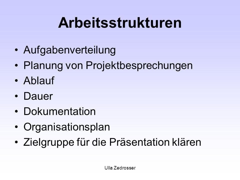 Arbeitsstrukturen Aufgabenverteilung Planung von Projektbesprechungen