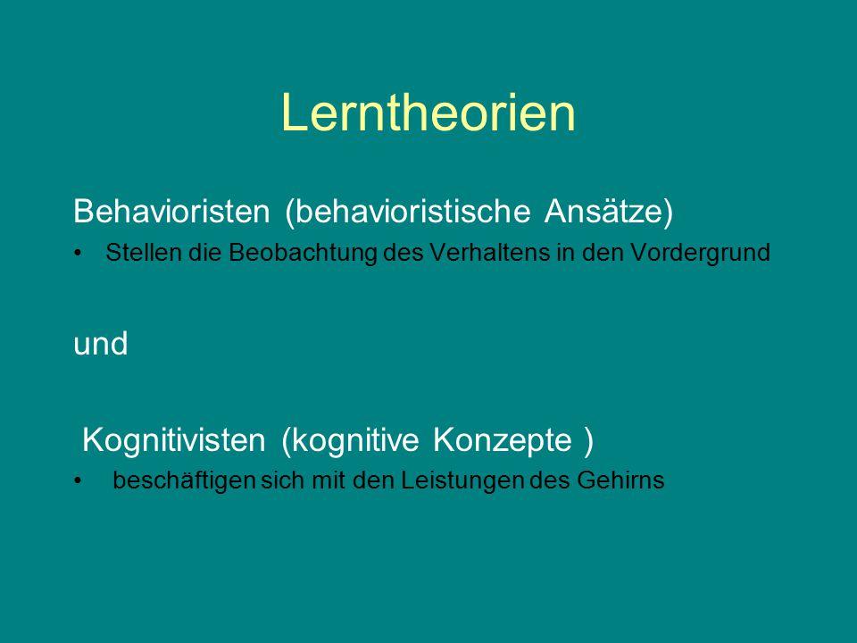 Lerntheorien Behavioristen (behavioristische Ansätze) und