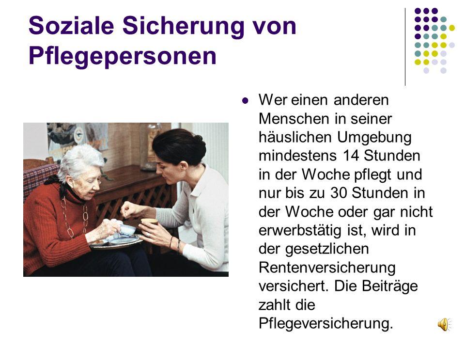 Soziale Sicherung von Pflegepersonen