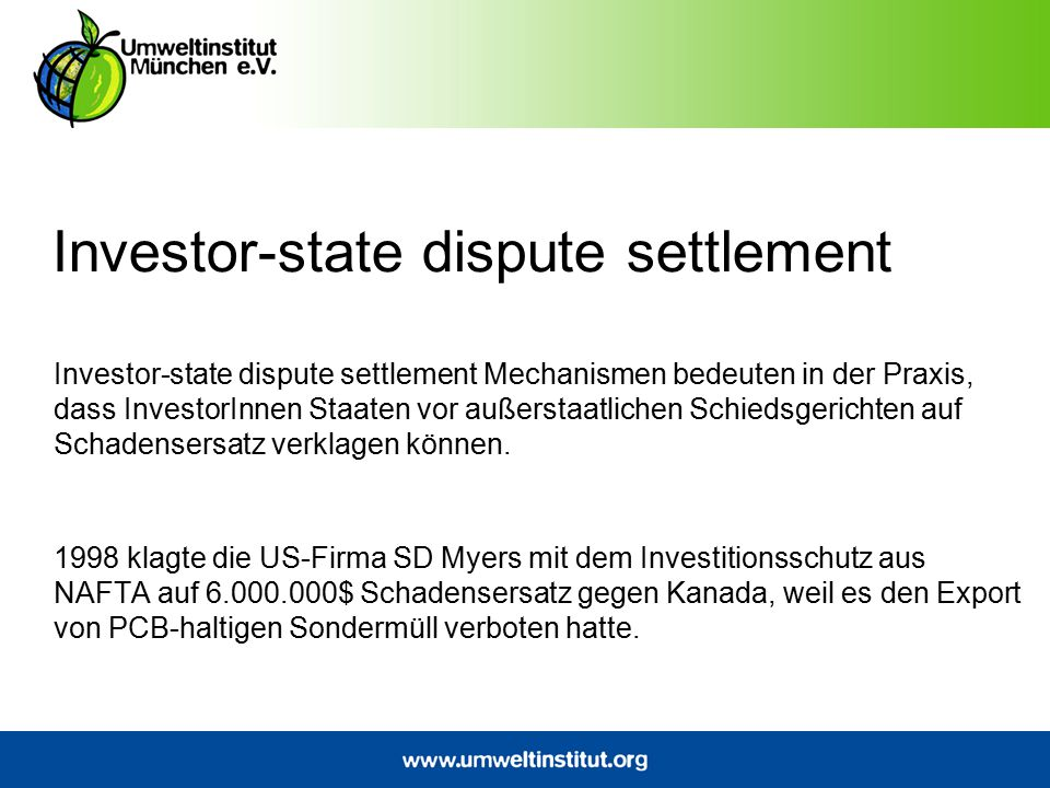 Investor-state dispute settlement
