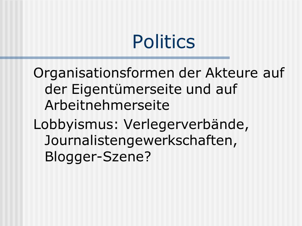Politics Organisationsformen der Akteure auf der Eigentümerseite und auf Arbeitnehmerseite.