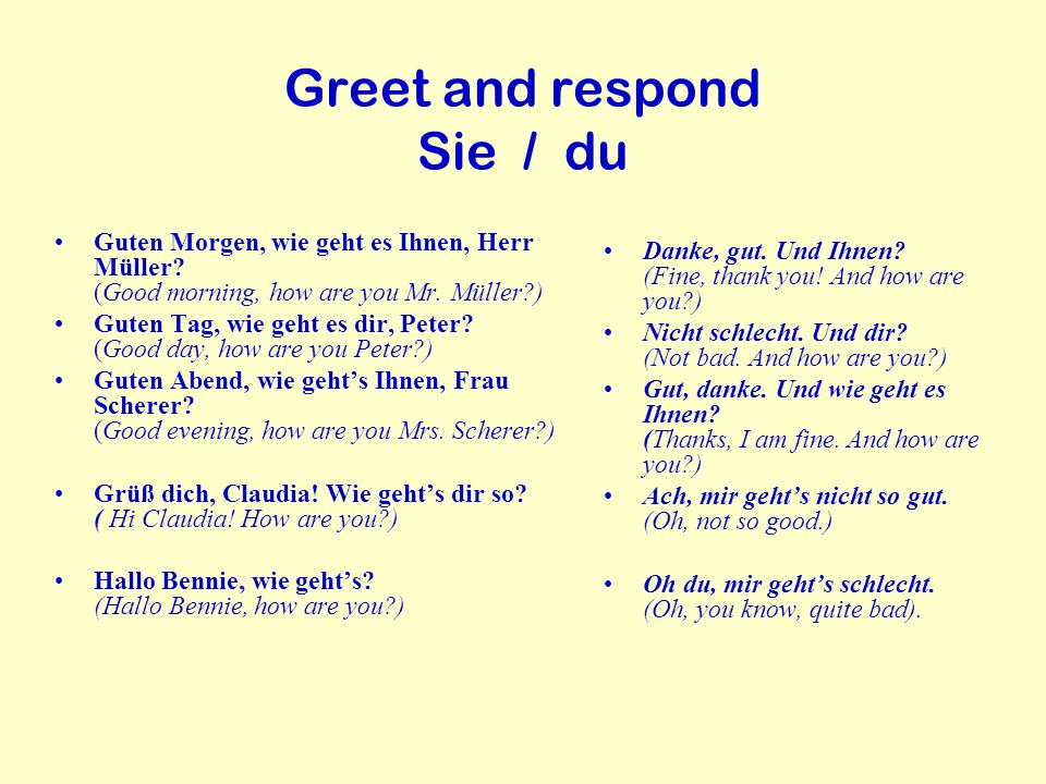 Greet and respond Sie / du