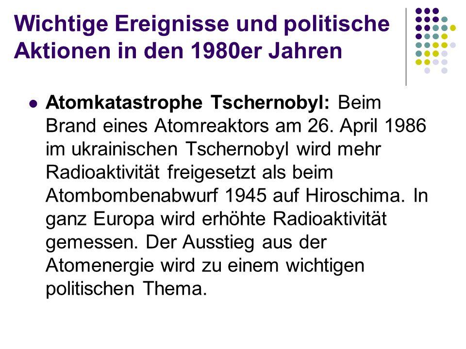 Wichtige Ereignisse und politische Aktionen in den 1980er Jahren