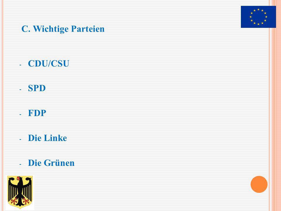 C. Wichtige Parteien CDU/CSU SPD FDP Die Linke Die Grünen