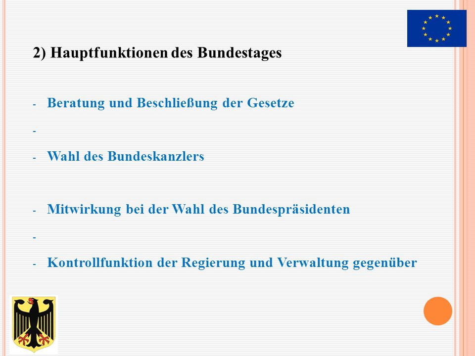 2) Hauptfunktionen des Bundestages