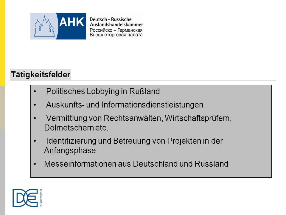Tätigkeitsfelder Politisches Lobbying in Rußland. Auskunfts- und Informationsdienstleistungen.