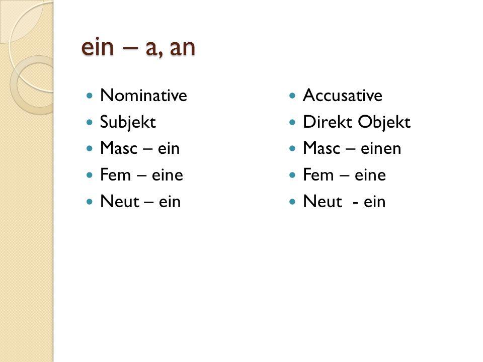 ein – a, an Nominative Subjekt Masc – ein Fem – eine Neut – ein