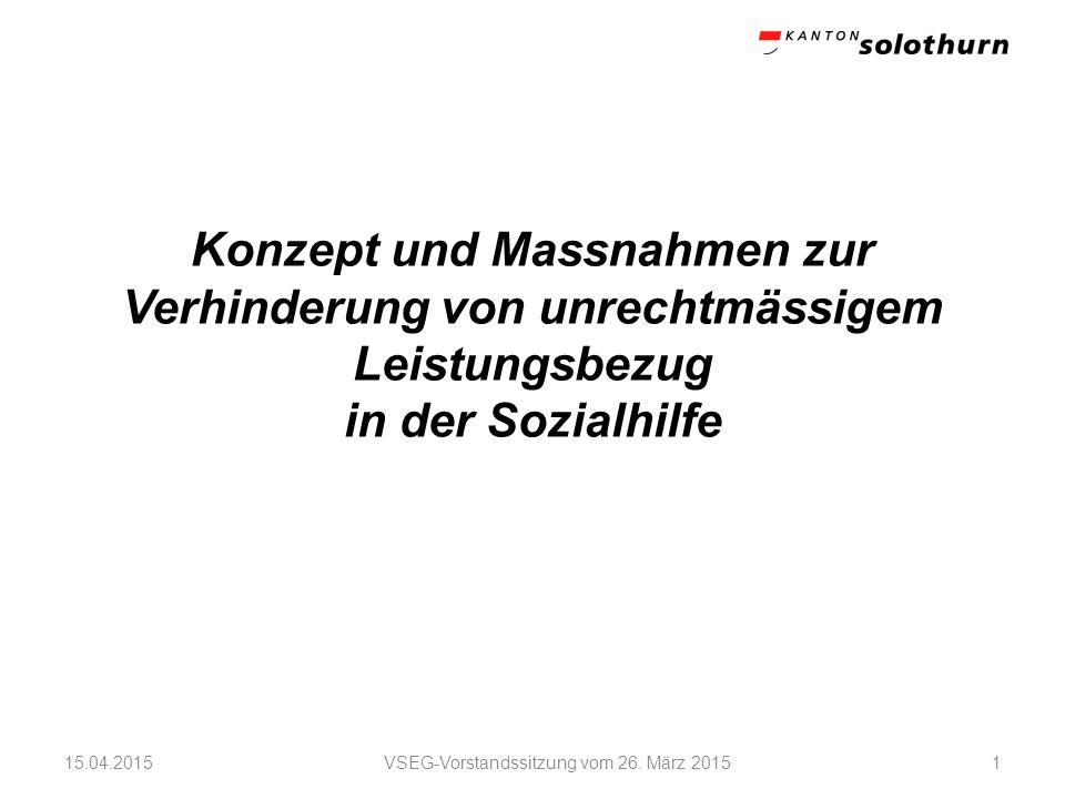 VSEG-Vorstandssitzung vom 26. März 2015