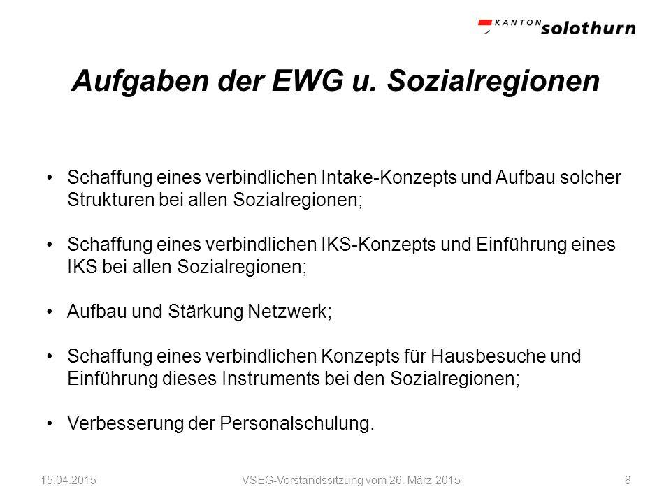 Aufgaben der EWG u. Sozialregionen