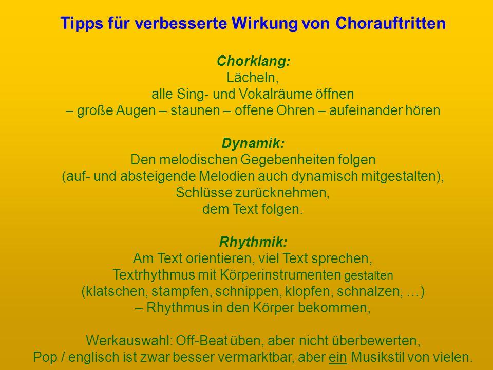 Tipps für verbesserte Wirkung von Chorauftritten