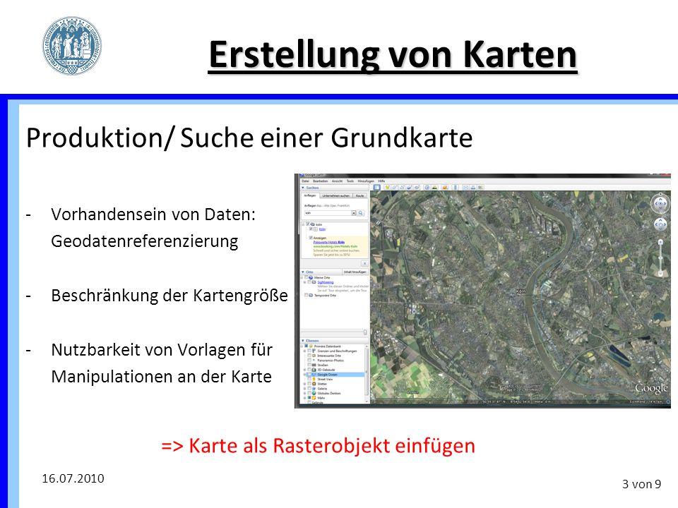Erstellung von Karten Produktion/ Suche einer Grundkarte