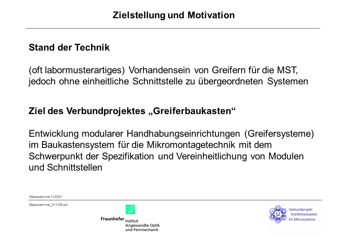 Zielstellung und Motivation