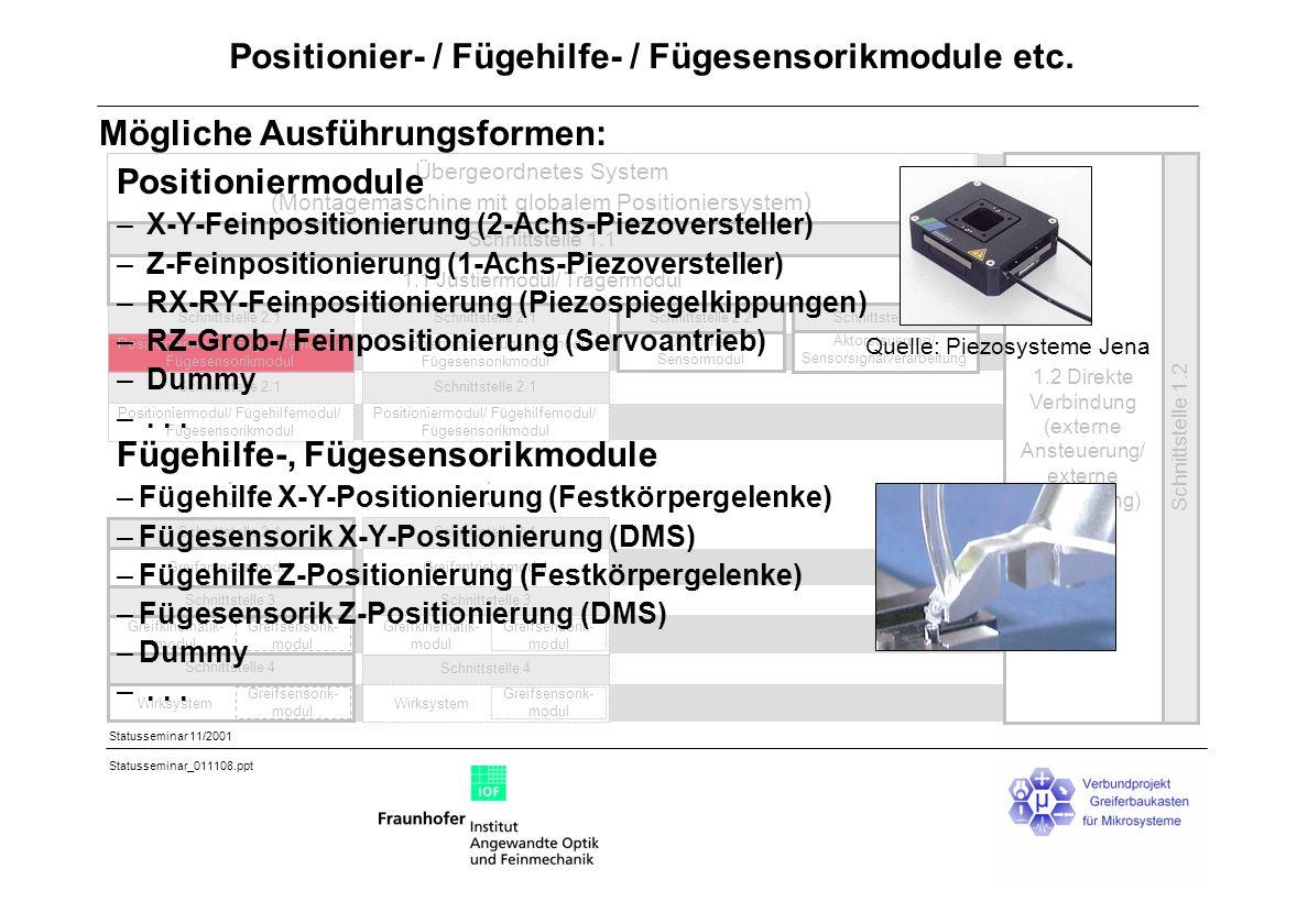 Positionier- / Fügehilfe- / Fügesensorikmodule etc.