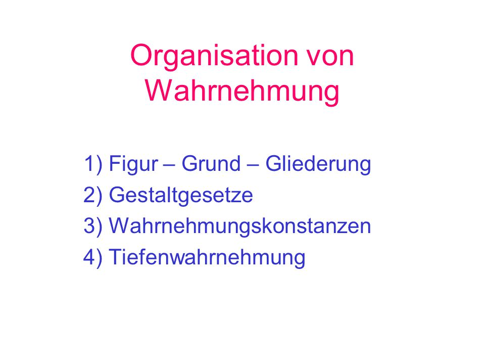 Organisation von Wahrnehmung