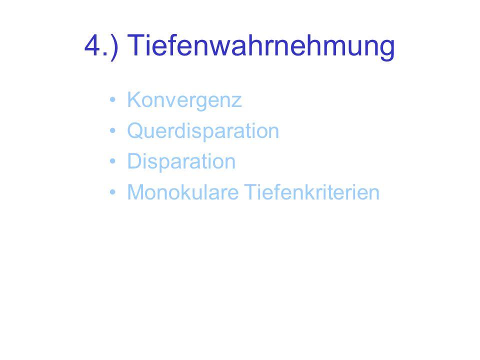 4.) Tiefenwahrnehmung Konvergenz Querdisparation Disparation